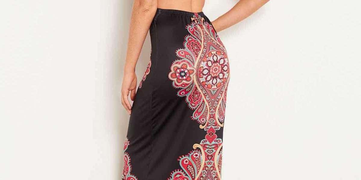 V-Neck Floral Print Half Sleeve Black Plus Size Dress