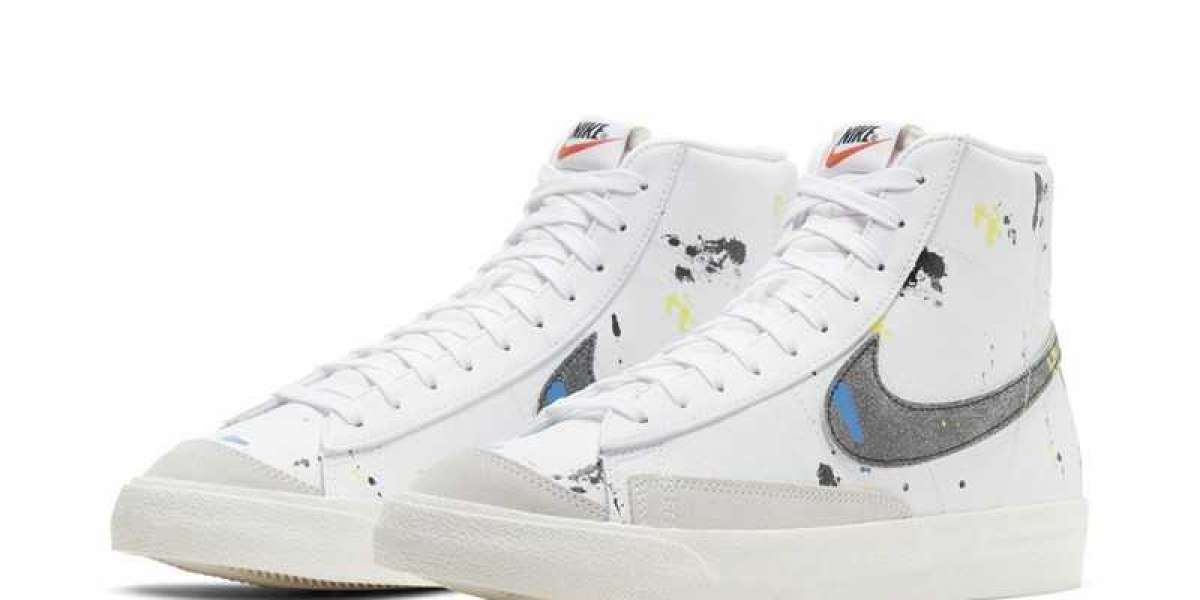 "Nike Blazer Mid '77 ""Paint Splatter"" White/Black-Sail 2021 New Arrival DC7331-100"