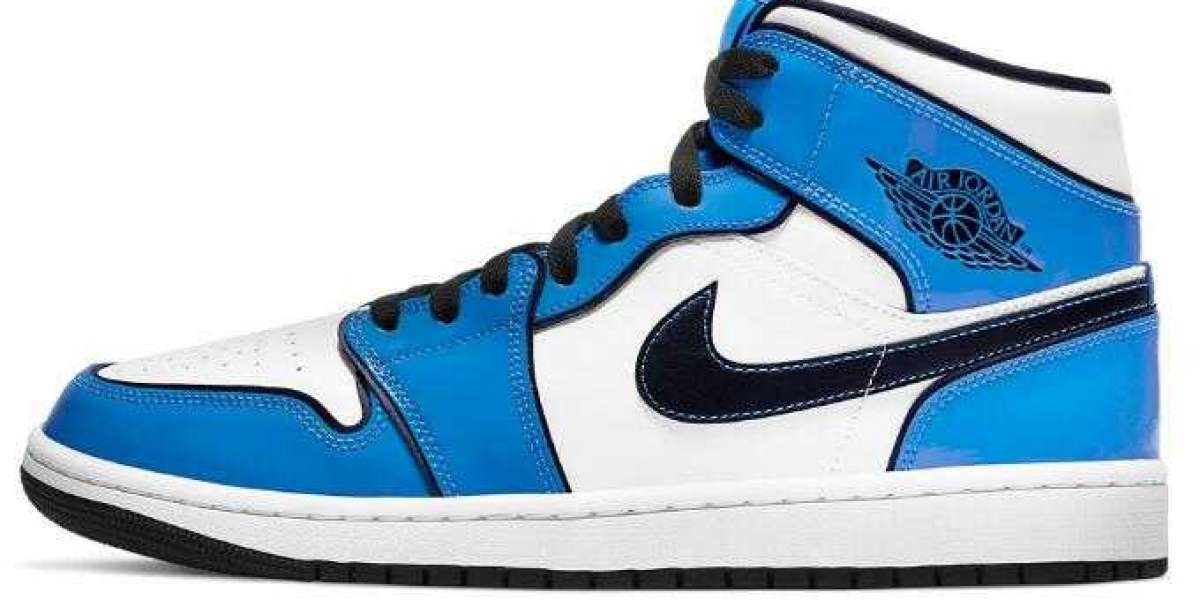 Air Jordan 1 Mid Signal Blue Coming With Patent Leather Overlays