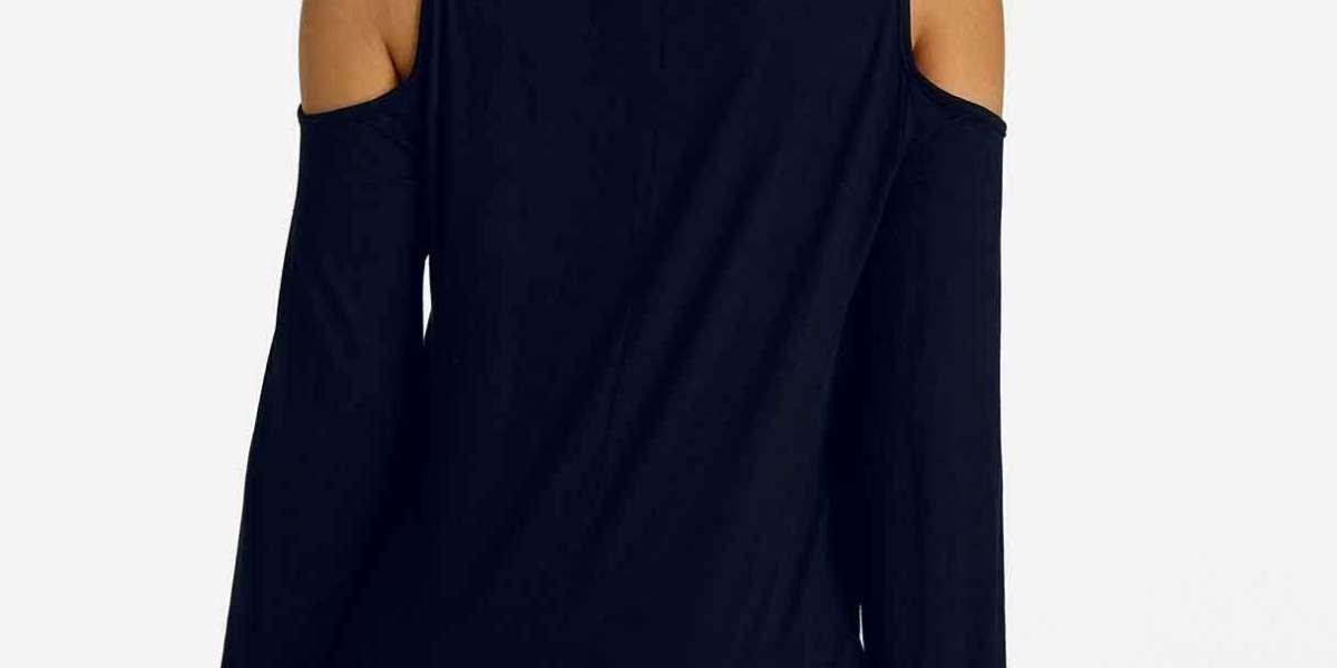Cold Shoulder Cut Out Half Sleeve Black T-Shirts